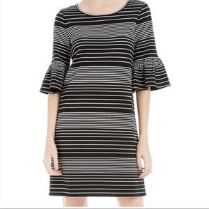 Max Studio Black White Stripe Bell Sleeve Dress